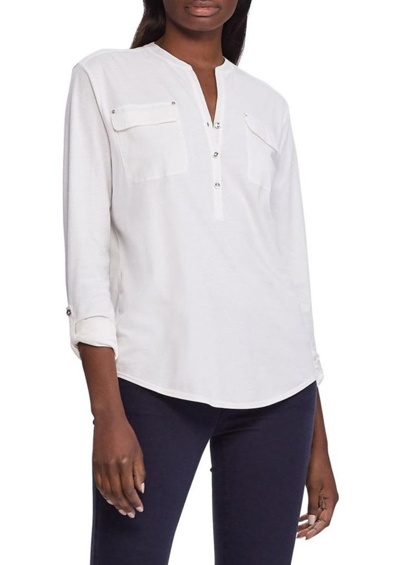 Lauren Ralph Lauren Roll-Tab Sleeve Cotton Top