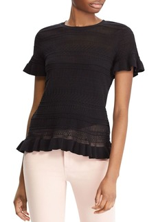 Lauren Ralph Lauren Ruffle Pointelle Knit Top