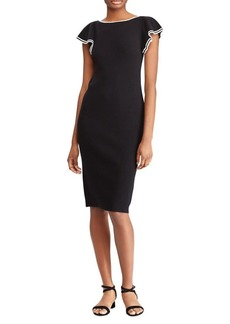 Lauren Ralph Lauren Ruffle-Sleeve Boatneck Dress