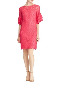 Lauren Ralph Lauren Ruffle-Sleeve Lace Dress