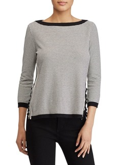 Lauren Ralph Lauren Ruffle-Trim Striped Sweater
