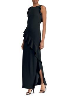 Lauren Ralph Lauren Ruffle-Trimmed Crepe Gown