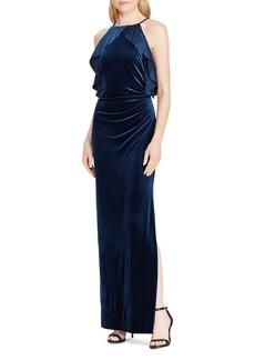 Lauren Ralph Lauren Ruffle-Trimmed Velvet Gown
