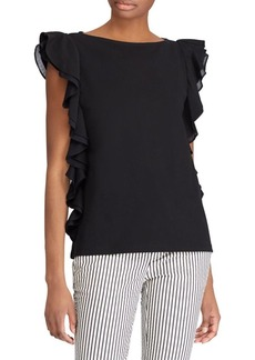 Lauren Ralph Lauren Ruffled Cap-Sleeve Top