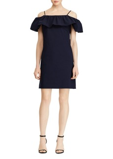 Lauren Ralph Lauren Ruffled Cold-Shoulder Crepe Dress
