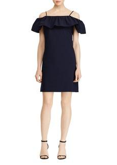 Lauren Ralph Lauren Ruffled Cold-Shoulder Crepe Dress