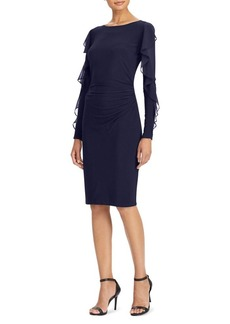 Lauren Ralph Lauren Ruffled Georgette Jersey Sheath Dress