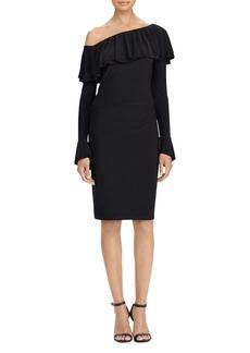 Lauren Ralph Lauren Ruffled Jersey One-Shoulder Dress