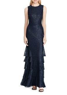 Lauren Ralph Lauren Ruffled Lace Gown