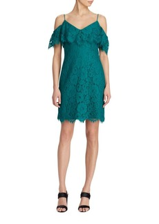 Lauren Ralph Lauren Ruffled Lace Sheath Dress