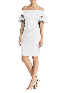 Lauren Ralph Lauren Ruffled Off-the-Shoulder Crepe Dress