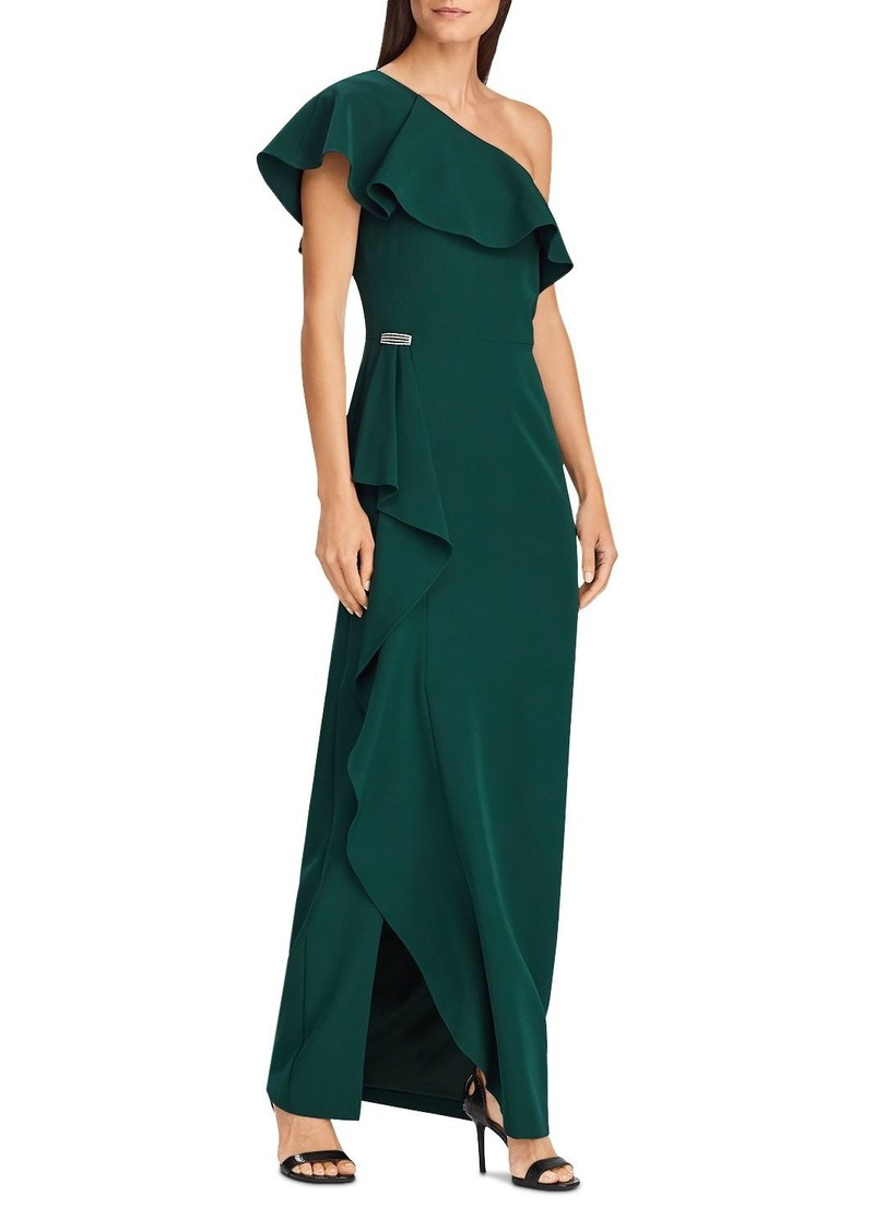 Lauren Ralph Lauren Ruffled One-Shoulder Gown