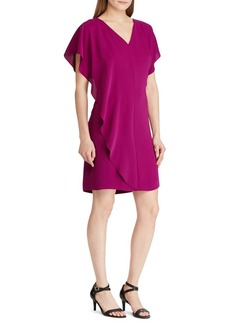 Lauren Ralph Lauren Ruffled Overlay Crepe Dress