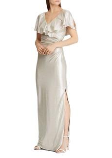 Lauren Ralph Lauren Ruffled Shimmer Gown