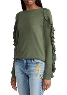 Lauren Ralph Lauren Ruffled Silk-Blend Sweater