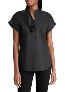Lauren Ralph Lauren Ruffled Stretch Cotton Top