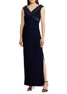 Lauren Ralph Lauren Satin Portrait Collar Gown