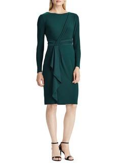 Lauren Ralph Lauren Satin-Ruffle Jersey Dress