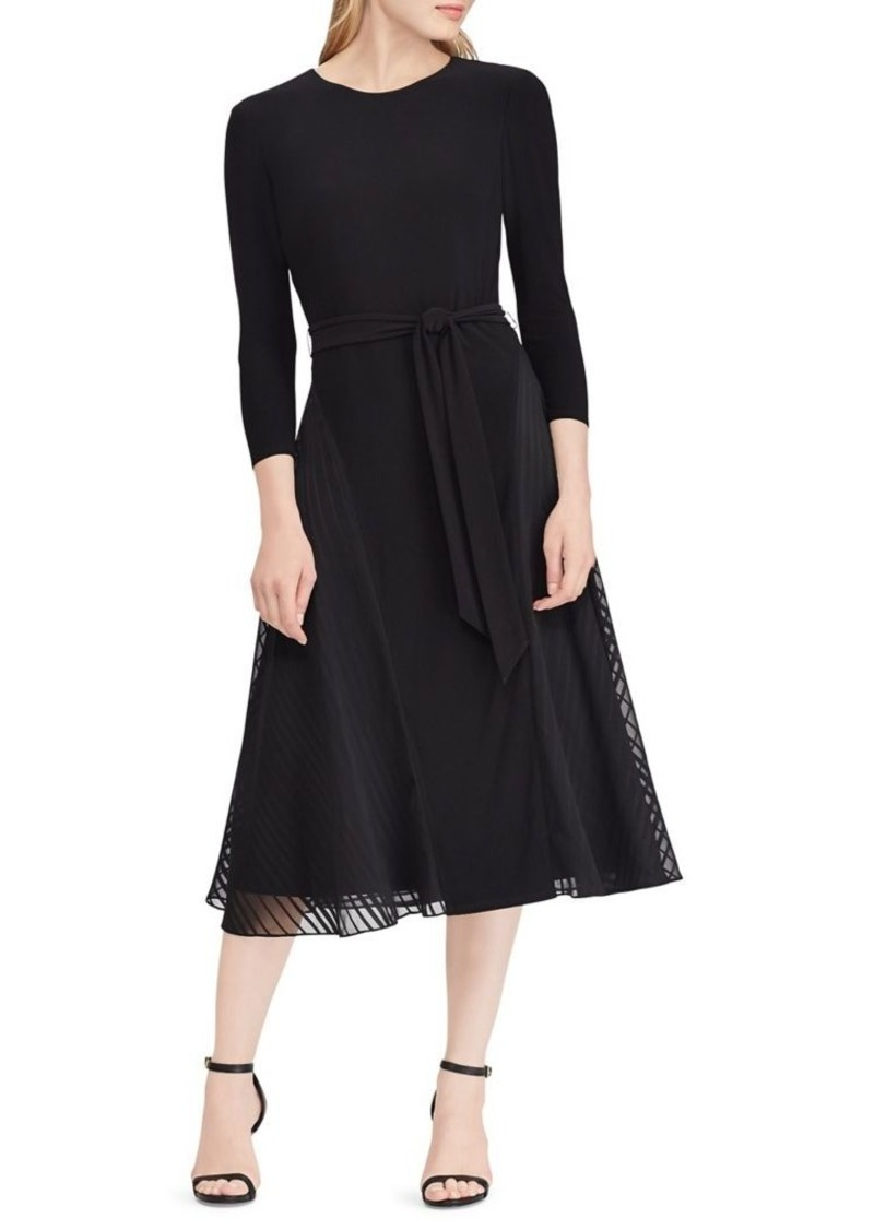 Lauren Ralph Lauren Satin-Trim Fit-and-Flare Dress