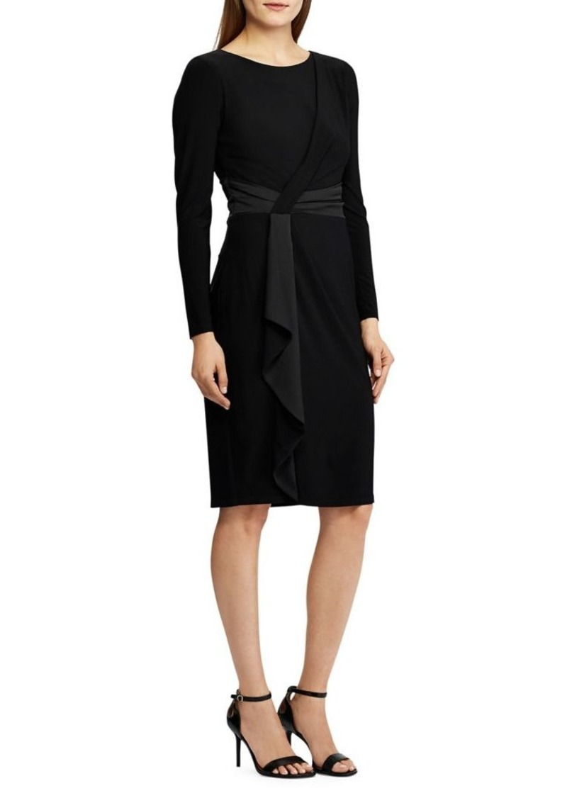 Lauren Ralph Lauren Satin-Trim Long-Sleeve Dress
