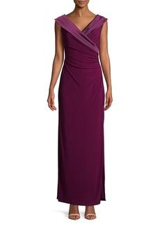 Lauren Ralph Lauren Satin-Trimmed Column Gown