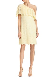 Lauren Ralph Lauren Scallop Lace One-Shoulder Dress