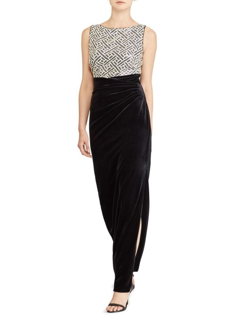 Ralph Lauren Lauren Ralph Lauren Sequin and Velvet Floor-Length Gown ...