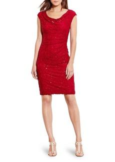 Lauren Ralph Lauren Sequin Cowl Neck Dress
