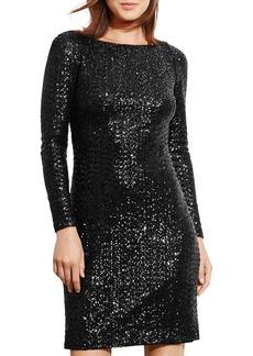 Lauren Ralph Lauren Sequin Cutout Back Dress