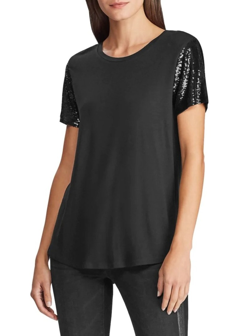 Lauren Ralph Lauren Sequin Embellished Cotton-Blend Tee
