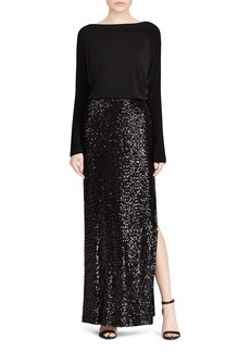 Lauren Ralph Lauren Sequin-Skirt Gown