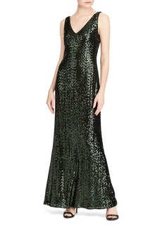 Lauren Ralph Lauren Sequin V-Neck Gown