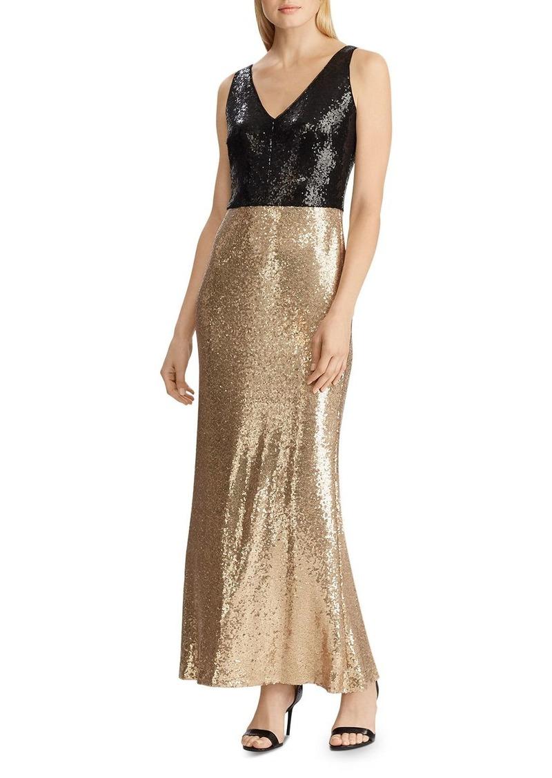 Lauren Ralph Lauren Sequin V-Neck Gown