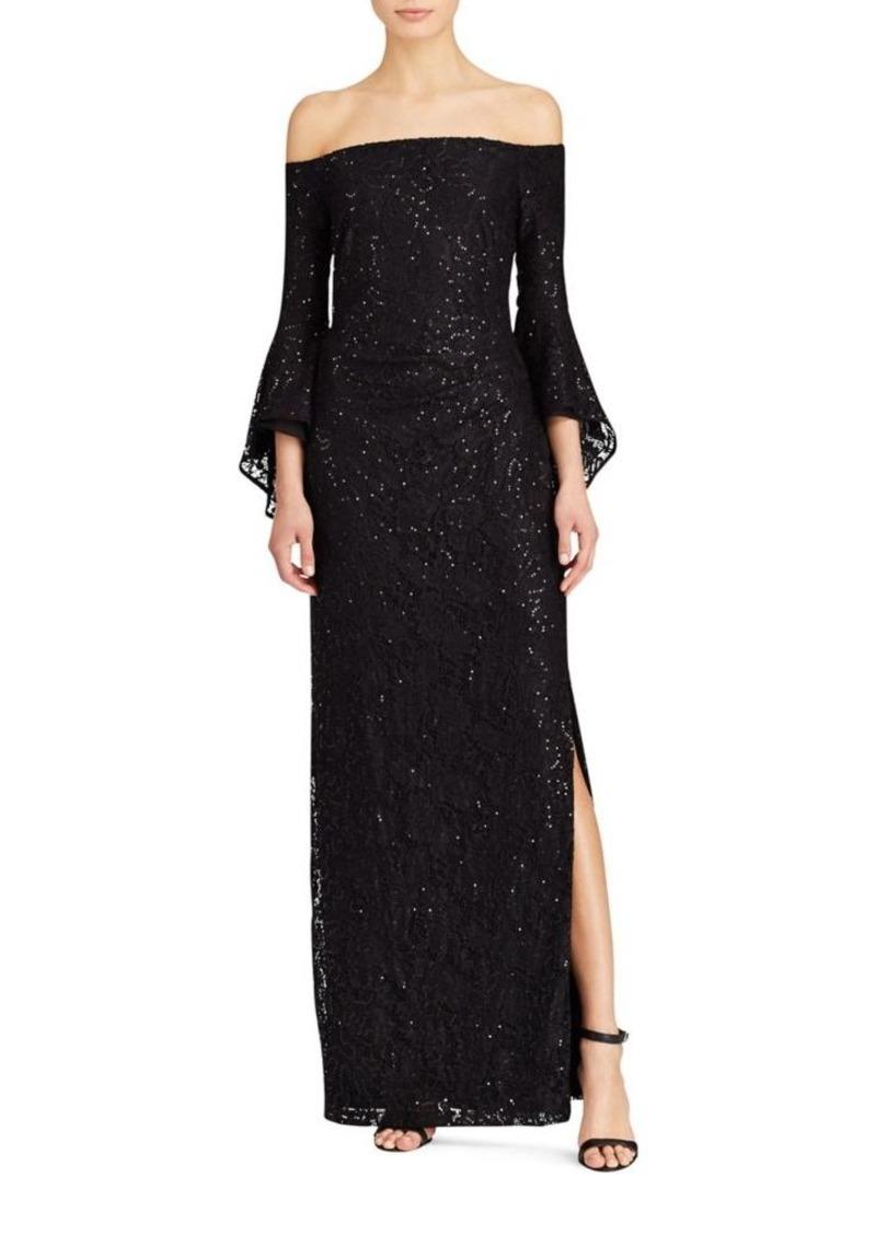 Ralph Lauren Lauren Ralph Lauren Sequined And Laced Gown