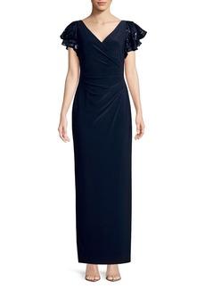 Lauren Ralph Lauren Sequined Cap-Sleeve Gown