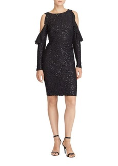 Lauren Ralph Lauren Sequined Cold-Shoulder Dress