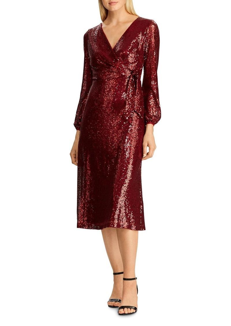 Lauren Ralph Lauren Sequined Faux-Wrap Dress