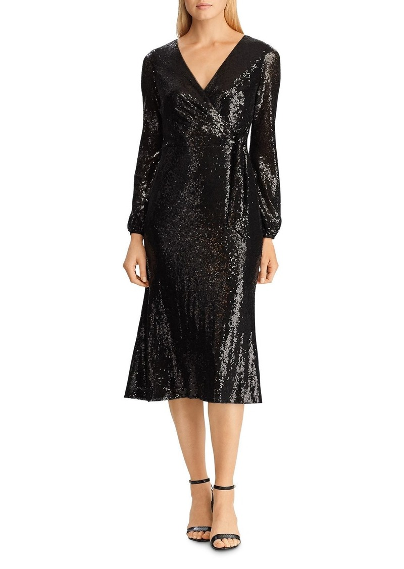 Lauren Ralph Lauren Sequined Faux-Wrap Dress