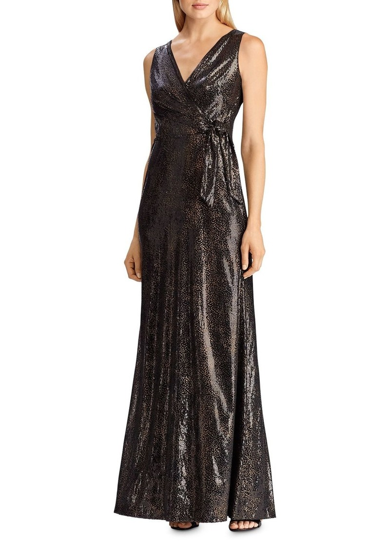 Lauren Ralph Lauren Sequined Faux-Wrap Gown