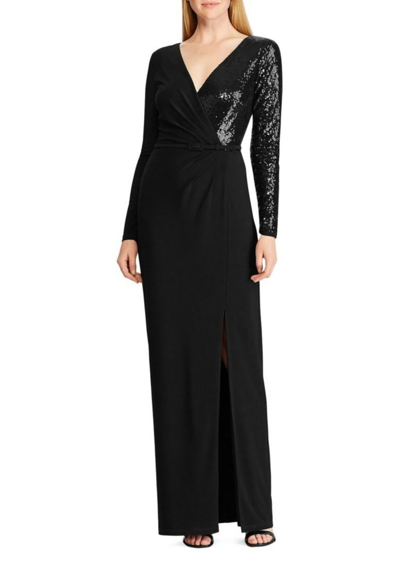 Lauren Ralph Lauren Sequined Long-Sleeve Gown