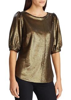 Lauren Ralph Lauren Sequined Metallic Top