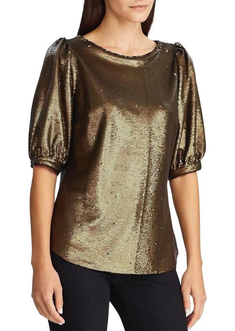 Lauren Ralph Lauren Sequined Metallic Top