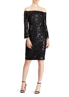 Lauren Ralph Lauren Sequined Off-the-Shoulder Dress