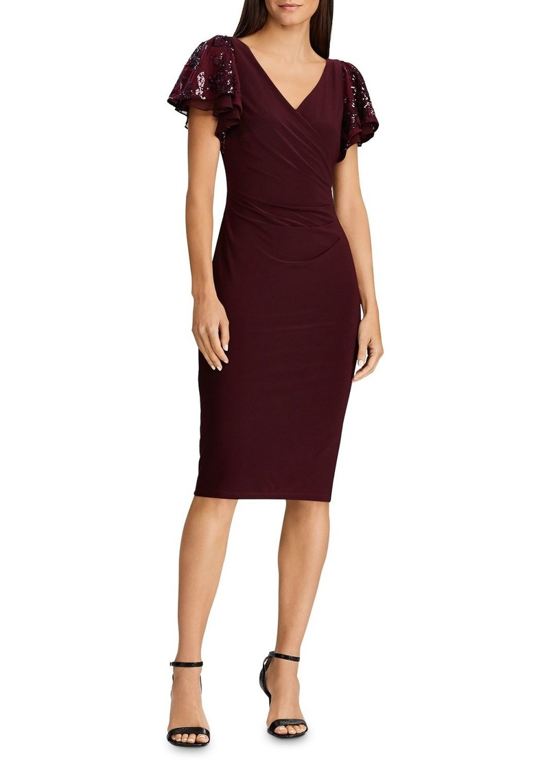 Lauren Ralph Lauren Sequined-Sleeve Jersey Dress