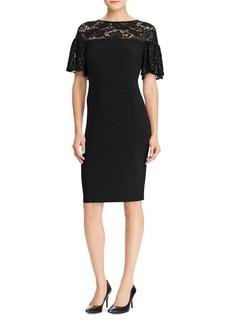 Lauren Ralph Lauren Sequined-Trimmed Jersey Sheath Dress