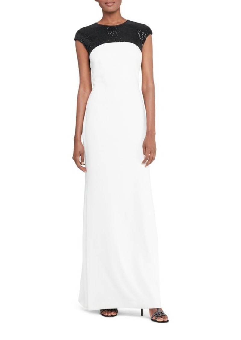 Ralph Lauren Lauren Ralph Lauren Sequined Yoke Cap Sleeve Gown Now ...