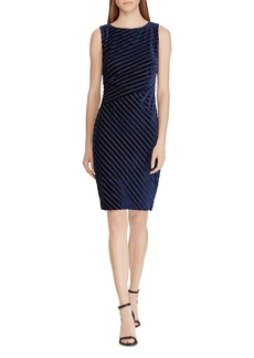 Lauren Ralph Lauren Shadow Stripe Velvet Sheath Dress