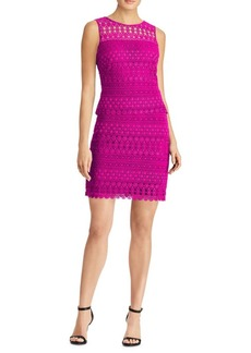Lauren Ralph Lauren Sheer-Yoke Scalloped Lace Dress