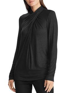Lauren Ralph Lauren Shimmer Twist-Neck Top