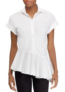 Lauren Ralph Lauren Short-Sleeve Asymmetrical-Ruffle Shirt - 100% Exclusive